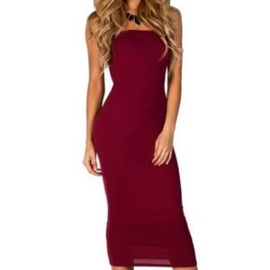 Burgandy tube top dress